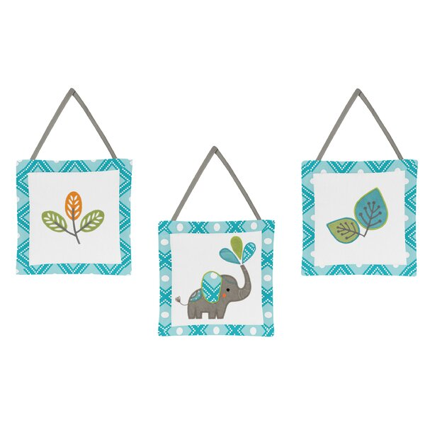 Mod Elephant 3 Piece Hanging Art Set by Sweet Jojo Designs