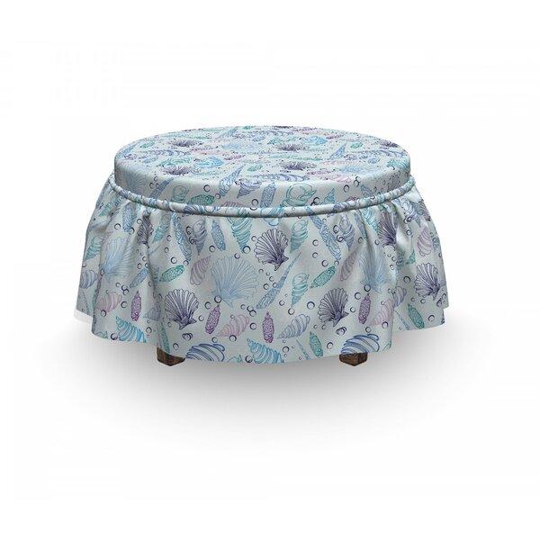 Nautical Seashells Bubble Ocean 2 Piece Box Cushion Ottoman Slipcover Set By East Urban Home