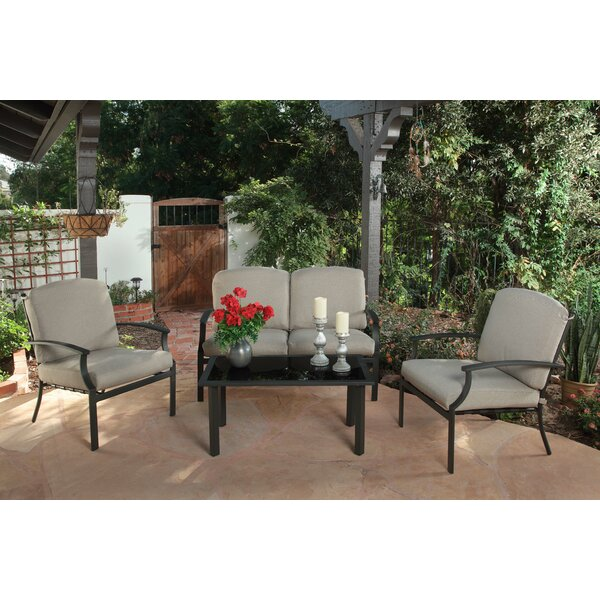 Alves Deep 4 Piece Complete Patio Set with Cushions by Alcott Hill