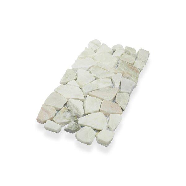 "Border Interlock 6 x 11 3/4"" Natural Stone Pebbles/Rocks Tile in White Onyx by Pebble Tile"