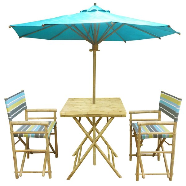 Sinta 3 Piece Teak Bistro Set with Umbrella by Bay Isle Home
