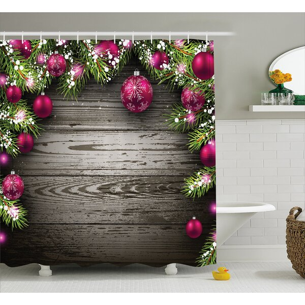 Christmas Rustic Balls Branch Shower Curtain by The Holiday Aisle