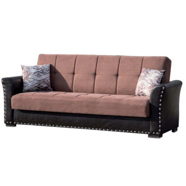 Virginis Chenille 88 inches Round Arms Sleeper by Winston Porter Winston Porter