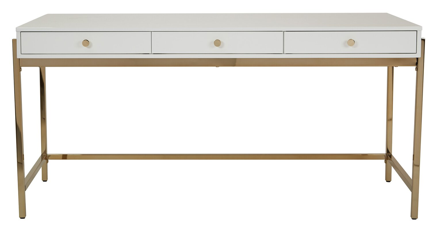 White and gold writing desk