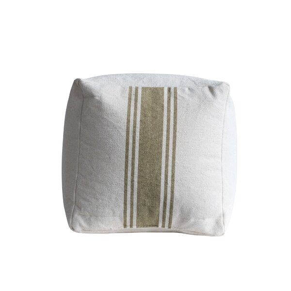 Mcphail Square Cotton Canvas with Olive Stripes Pouf by Gracie Oaks