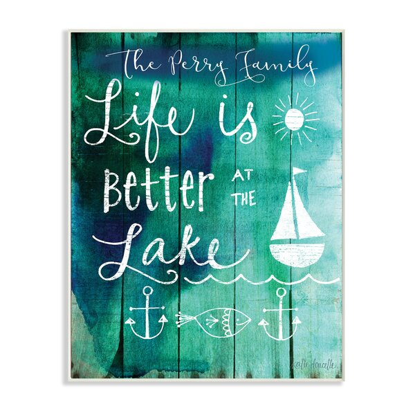 Personalized Better at Lake Icons and Plank Wall Plaque Art by Stupell Industries