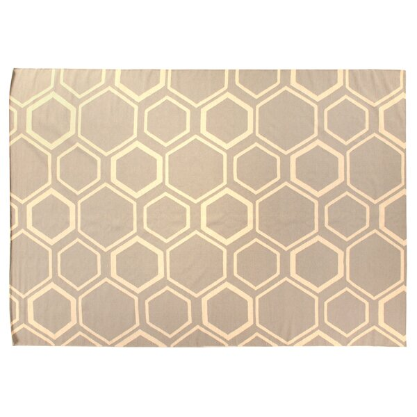 Flat woven Wool Sky/White Area Rug by Exquisite Rugs