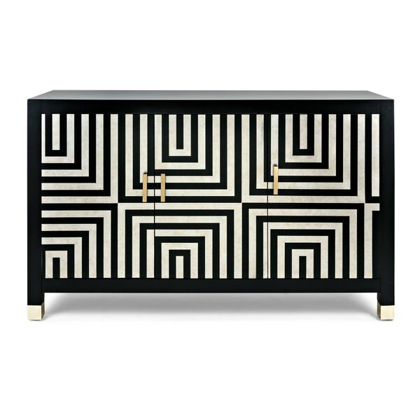 Cheryl Stripe Patterned Wooden 3 Door Accent Cabinet by Ivy Bronx