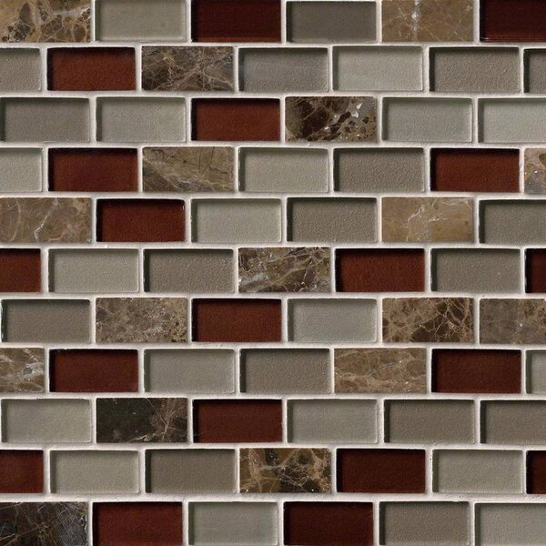 Royal Canyon Brick 1 x 2 Glass/Stone Mosaic Tile in Brown by MSI