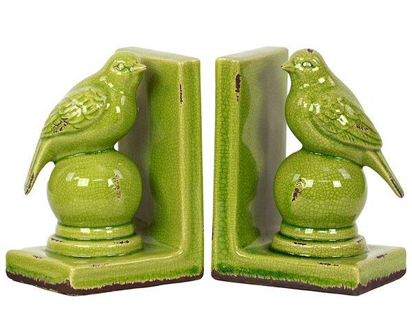 Stylish Stoneware Bird Bookend (Set of 2) by Woodland Imports