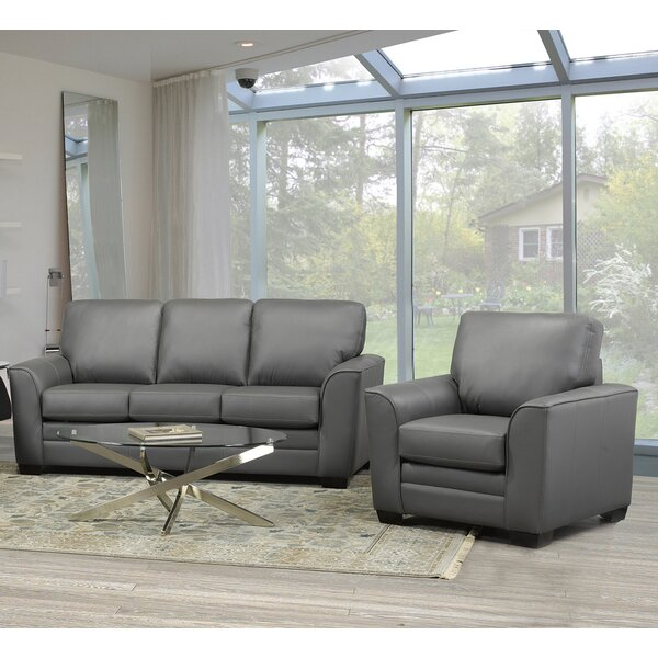 Nadin 2 Piece Leather Living Room Set by Orren Ellis