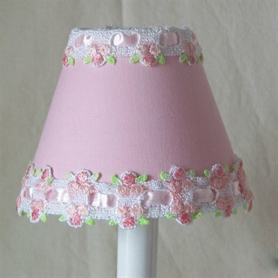 Venise Lace 4 H Fabric Empire Candelabra Shade ( Clip On ) in Pink