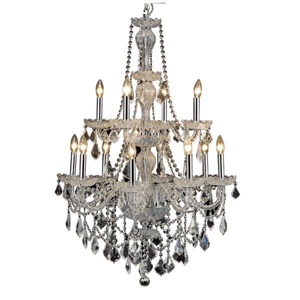 Lesli 12 - Light Candle Style Tiered Chandelier By Rosdorf Park