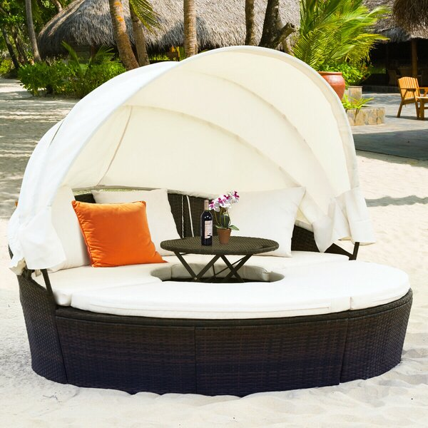 Ringsted Round Daybed Rattan Seating Group by Latitude Run