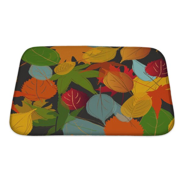 Leaves Leaf Warm Fall Colors of Autumn Bath Rug by Gear New