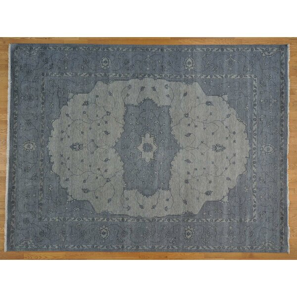 One-of-a-Kind Beare Overdyed Serapi Hand-Knotted Blue Wool Area Rug by Isabelline