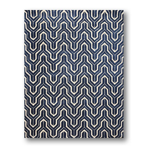 One-of-a-Kind Canchola Contemporary Hand-Knotted Wool Navy Blue/Ivory Area Rug by Longshore Tides