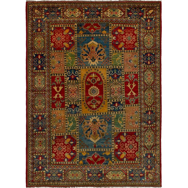 One-of-a-Kind Bernard Hand-Knotted Wool Blue/Red Area Rug by Bloomsbury Market