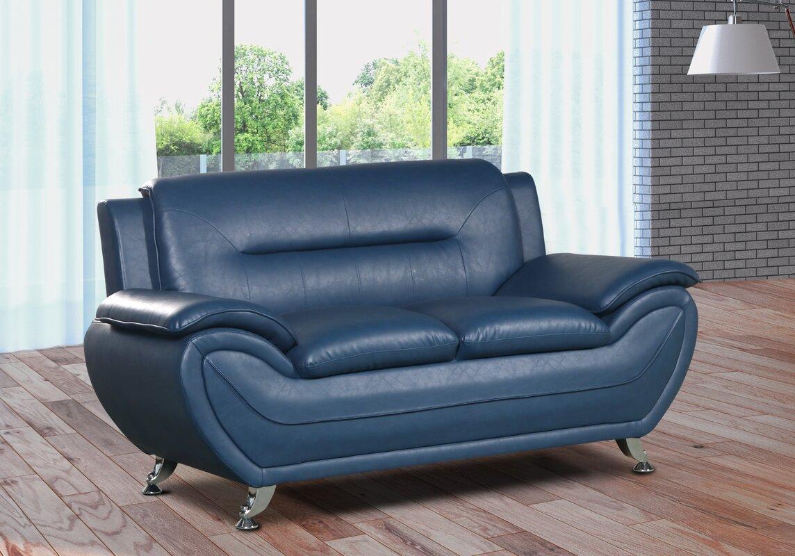 Lester Modern Living Room Faux Leather Loveseat