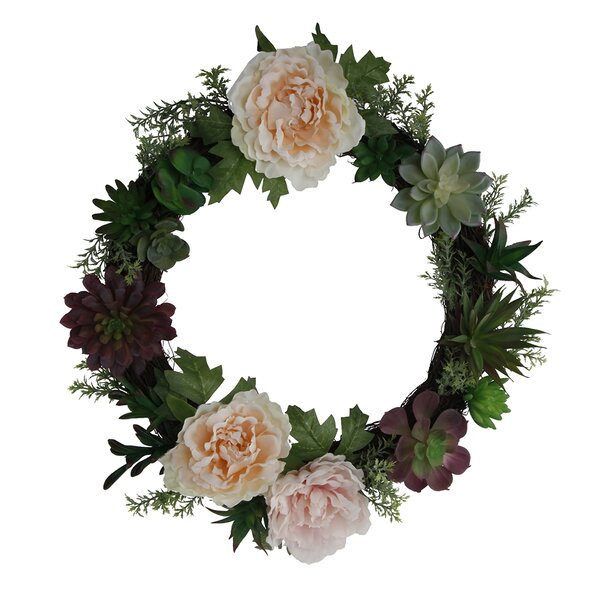 18 Floral Succulent Wreath by House of Hampton
