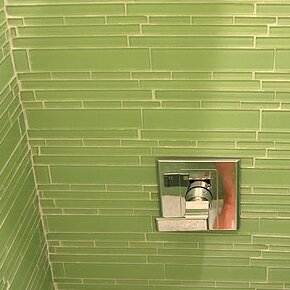 Club Random Sized Glass Mosaic Tile in Light Olive by Giorbello