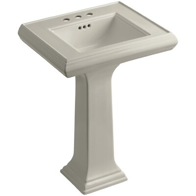 Pedestal Sink Ceramic Overflow Faucet Mount photo