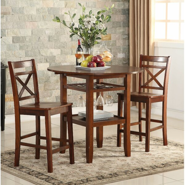 Talbot 3 Piece Counter Height Drop Leaf Dining Table by August Grove