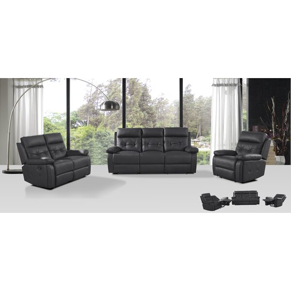 3 Reclining Piece Leather Living Room Set by Attraction Design Home