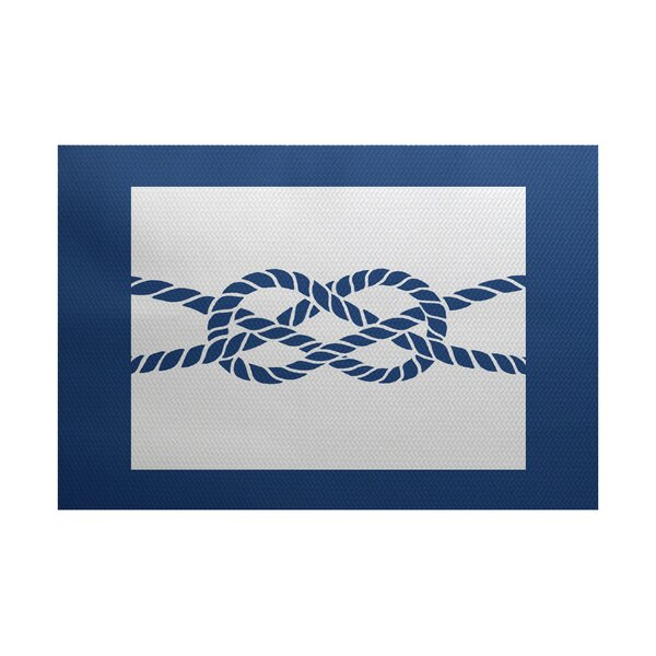 Hancock Blue Indoor/Outdoor Area Rug by Breakwater Bay