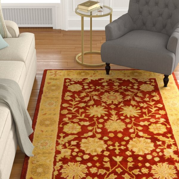 Balthrop Red/Gold Floral Area Rug by Astoria Grand