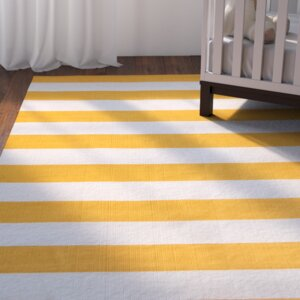 Ike Hand-Woven Yellow/White Area Rug