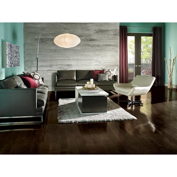 Prime Harvest 5 Solid Oak Hardwood Flooring in High Glossy Blackened Brown by Armstrong Flooring