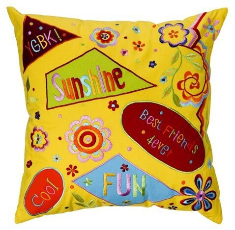 Sunshine Embroidered Cotton Throw Pillow by Bacati