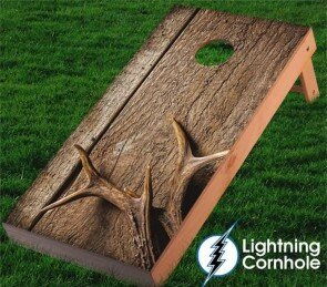 Antler and Wood Textured Cornhole Board by Lightning Cornhole