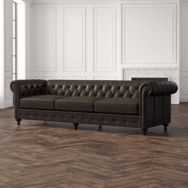 Dashing Collection London Leather Chesterfield Sofa by Bernhardt by Bernhardt