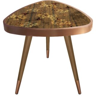 "Johson ""Flowers"" Print Triangle Wooden End Table by Mercer41 SKU:CC750820 Price Compare"