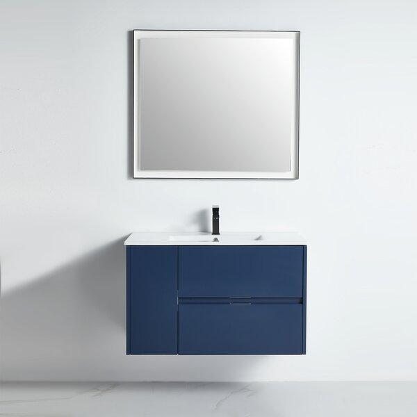 Aerial 35 Wall-Mounted Single Bathroom Vanity Set with Mirror