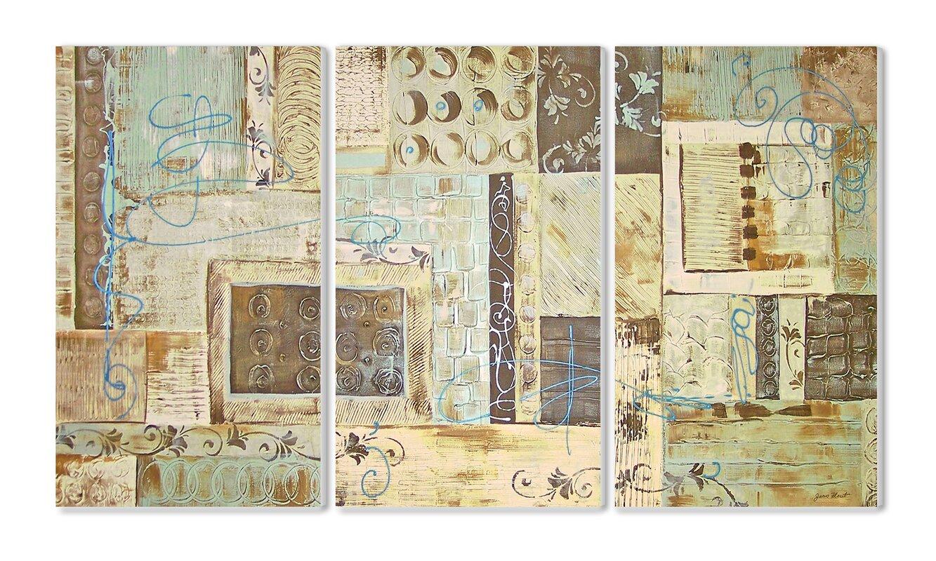 Aqua Dreams Triptych 3 Piece Painting Print Wall Plaque Set