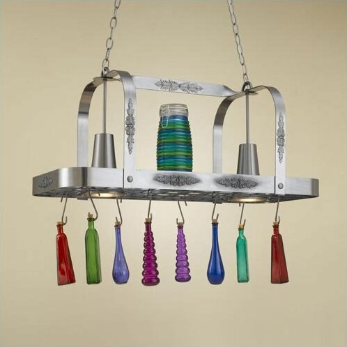 Monterey Rectangular Pot Rack with 2 Lights by Hi-Lite
