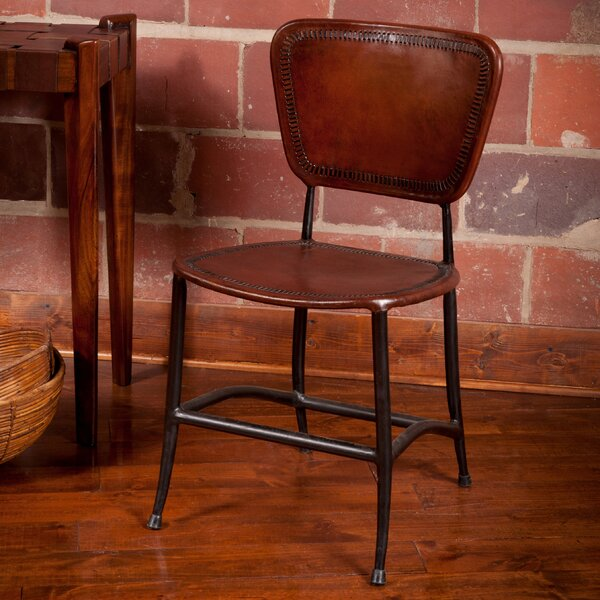 Caudill Leather Slat Back Stacking Side Chair By Millwood Pines