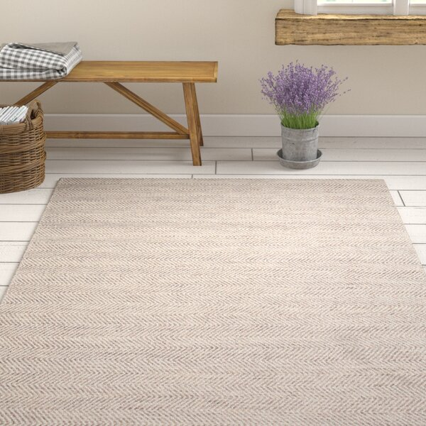 Hand-Woven Tan/Ivory Area Rug by Birch Lane™