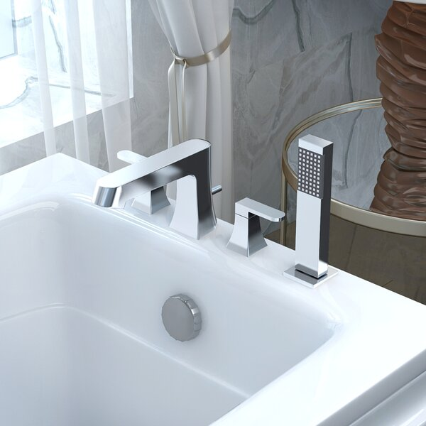 Cove Double Handle Deck Mount Roman Bathtub Faucet with Shower Wand by ANZZI