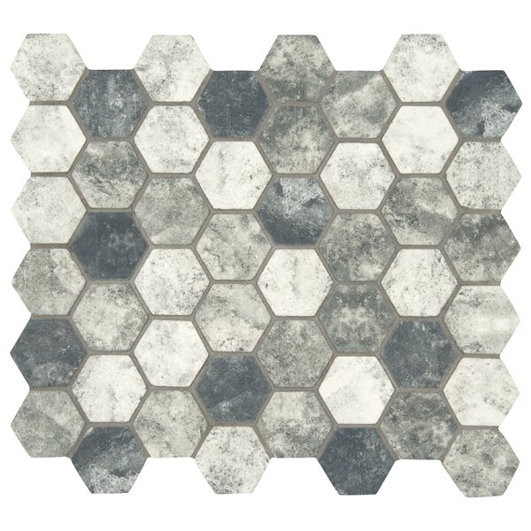 Urban Tapestry Hexagon 2 x 2 Glass Mosaic Tile in White/Gray by MSI