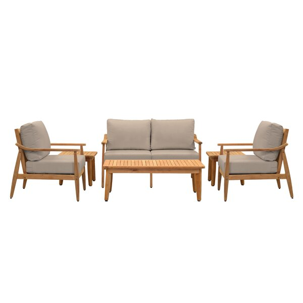 Alta 6 Piece Teak Sofa Seating Group with Sunbrella Cushions by Union Rustic