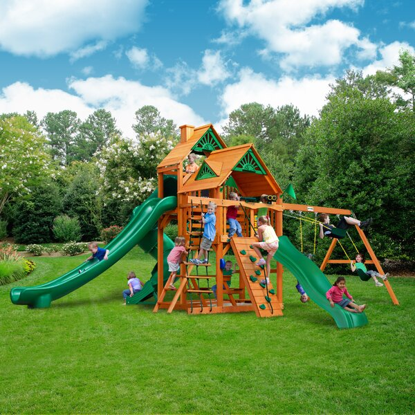 Great Skye II with Amber Posts Cedar Swing Set by Gorilla Playsets