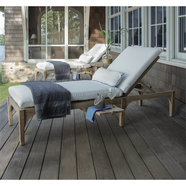 Club Reclining Teak Chaise Lounge with Cushion by Summer Classics