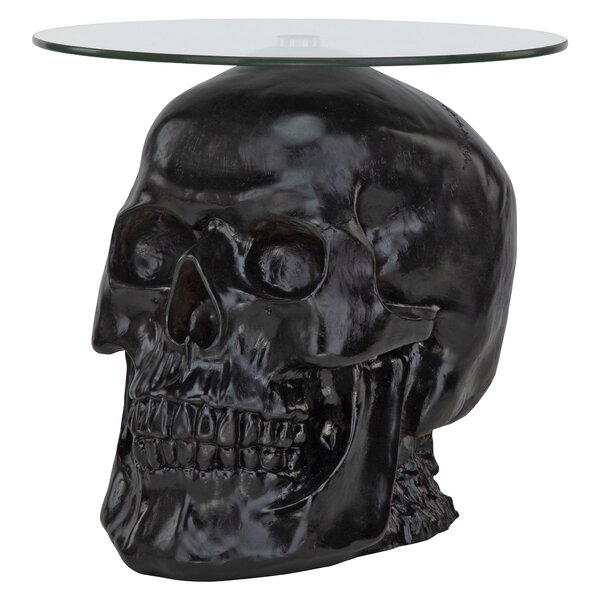 Lost Souls Gothic Skull Glass Topped End Table by Design Toscano