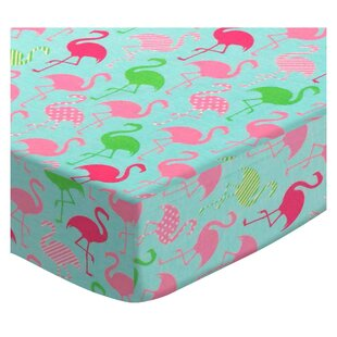 Great deal Flamingos Aqua Jersey Knit Fitted Crib Sheet By Sheetworld