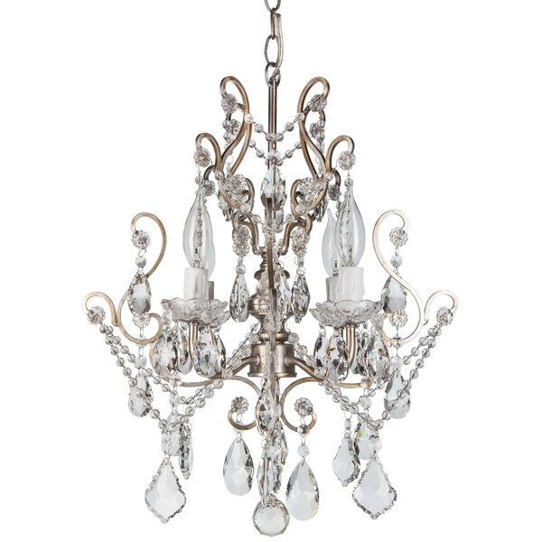 House Of Hampton Alida 4 Light Glass Crystal Chandelier & Reviews by House Of Hampton