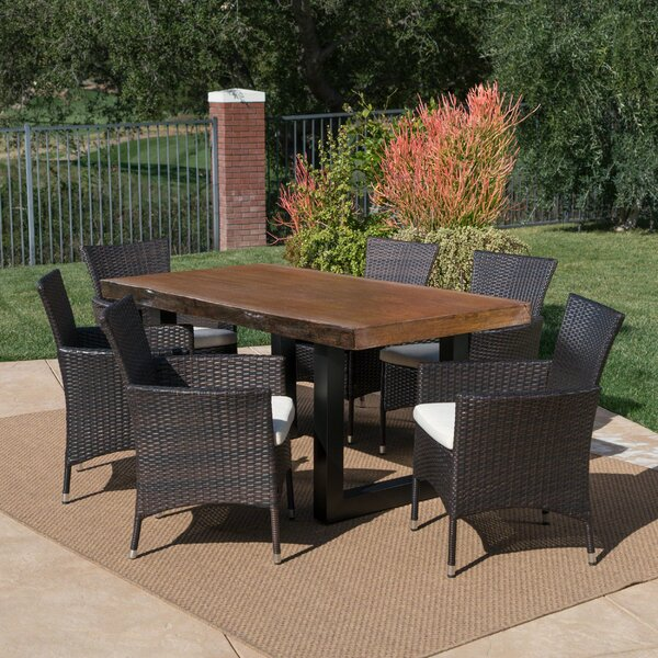 Bannister Outdoor 7 Piece Dining Set with Cushions by Loon Peak